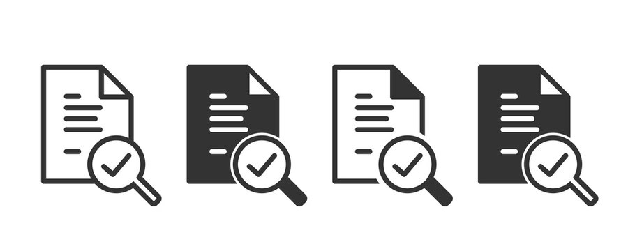 Audit icons in four different versions in a flat design