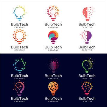 Set Of bulb tech logo icon . Bulb Logo Design Colorfull . Idea creative light bulb logo . Bulb digital logo technology Idea