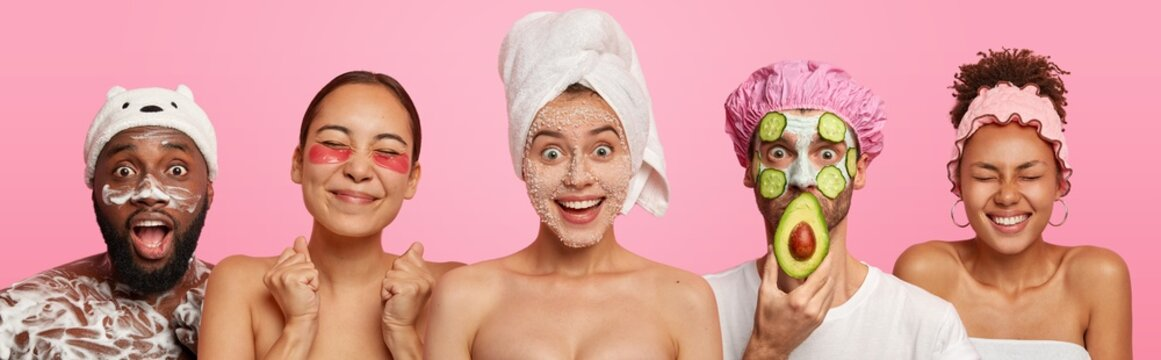 Collage of five different people have hygienic, beauty treatments, apply face masks, patches and wash body with shower gel, stand next to each other, isolated over pink background, visit cosmetologist