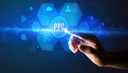 Hand touching PPC inscription, new technology concept