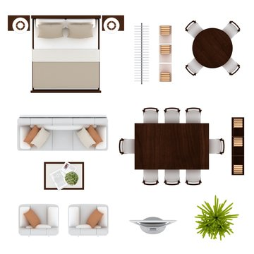 Floor plan furniture set top view 3D illustration.