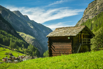 Wall Mural - Old wooden hut in Saas valley close to Saas-Balen