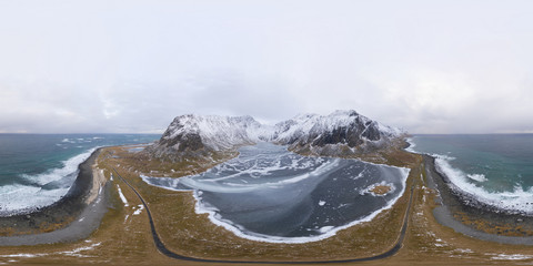 Stores photo Blanc 360 panorama by 180 degrees angle seamless panorama of aerial view of white snow mountain in Lofoten islands, Nordland county, Norway, Europe. Hills and trees, nature landscape in winter season.