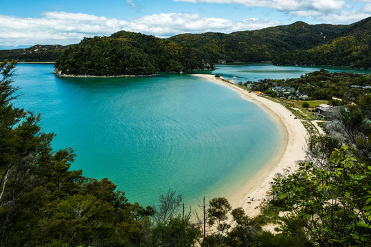 tropical beach by the sea in abel tasman national park