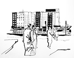 people in the city graphic black and white style lines art