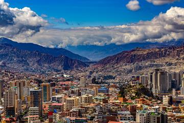 "Bolivia. La Paz, national capital of Bolivia. Skyline of the city from ""Killi Killi"" lookout"