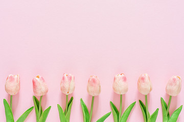 Spring floral background, greeting card, top view