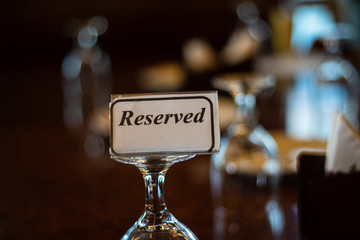 Reserved Tag on Restaurant Table