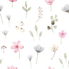 Cute Watercolor Floral Seamless  floral Surface Pattern with Pink and Blue small flowers and green leaves on white background. Hand drawn wildflowers. For wallpaper or fabric.