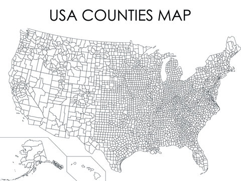 Black USA Counties Map on White Background