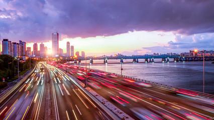 Traffic at Sunset of Seoul City South Korea Fotobehang