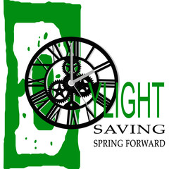 daylight savings spring forward and The mechanism of watch vector