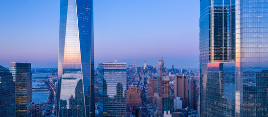 Poster New York New York City WTC in sunset, aerial photography