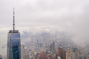New york city with WTC in cloudy day, aerial photography