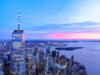 Poster New York New York City Skyline and WTC with East River in sunset, aerial photography