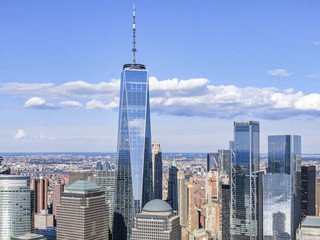 Foto op Plexiglas New York New york downtown with WTC and Brookfield Place in sunny day, aerial photography