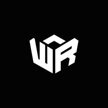 WR logo monogram with emblem style ribbon design template