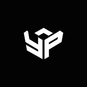 YP logo monogram with emblem style ribbon design template