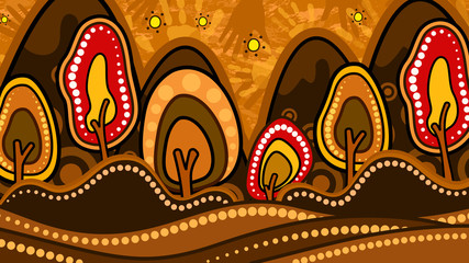 Tree on the hill, Aboriginal art vector painting depicting nature