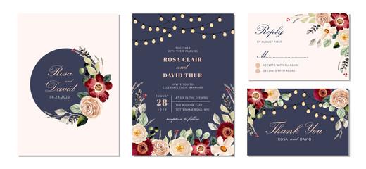 wedding invitation suite with string light and floral watercolor