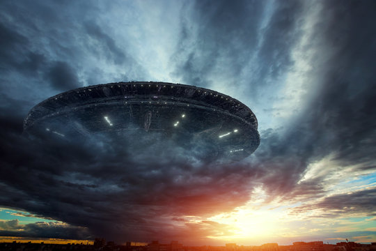 UFO, an alien plate soars in the sky, hovering motionless in the air. Unidentified flying object, alien invasion, extraterrestrial life, space travel, humanoid spaceship. mixed medium