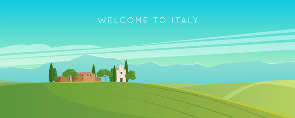 Zelfklevend Fotobehang Turkoois Italy. Italian landscape. Wide panorama rural countryside in spring or summer. Meadows, mountains and houses. Vector illustration