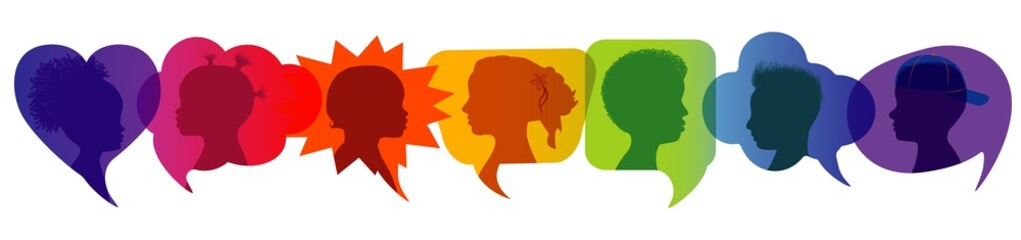 Fotobehang - Silhouette group of modern children in rainbow colored profile. Communication between multi-ethnic children. Children talking. Speech bubble