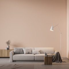 Beige living room interior with sofa