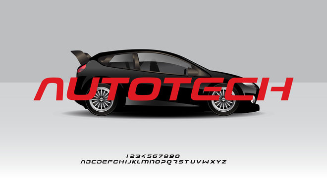 Autotech, a bold modern sporty typography alphabet font, on a car background vector illustration design