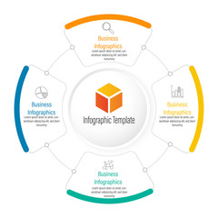 Infographic circle element template can be used for workflow layout, diagram, number options, web design. Infographic business concept with 4 option, parts, steps or processes.