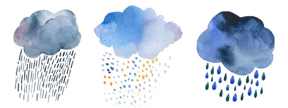 Cute weather icons. Forecast meteorology watercolor symbols. Scandinavian illustration.