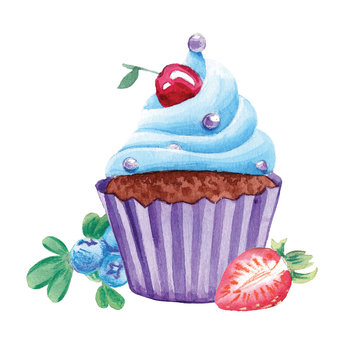 watercolor cupcake with strawberry and blueberry on white isolated background