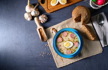 Easter in Polish: sour flour soup for Easter breakfast (Żurek)
