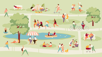 Large crowd of people in the park. Recreation, sport and outdoor activities vector illustration Wall mural