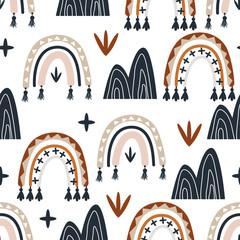 Foto auf Leinwand Künstlich seamless pattern with boho rainbow - vector illustration, eps