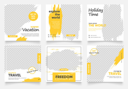 social media post template for travel holiday tourism marketing and sale promo. tour advertising. banner offer. promotional mockup photo vector frame illustration