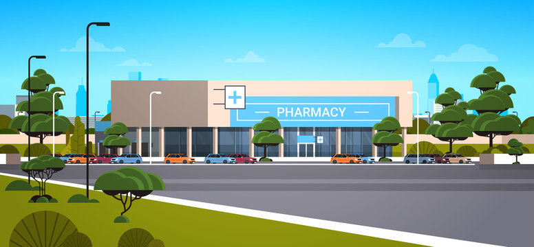 modern drugstore front view pharmacy store building exterior in suburban area medicine healthcare concept horizontal vector illustration