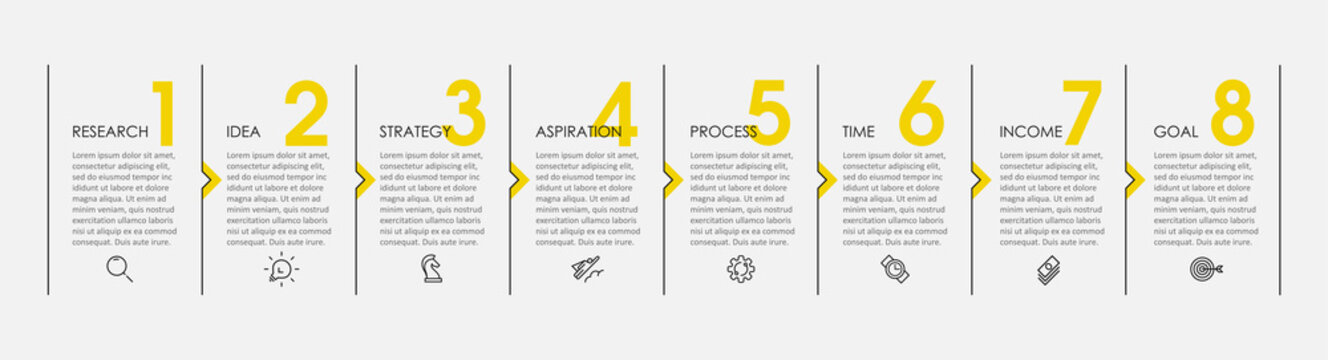 Vector Infographic design with icons and 8 options or steps. Infographics for business concept. Can be used for presentations banner, workflow layout, process diagram, flow chart, info graph
