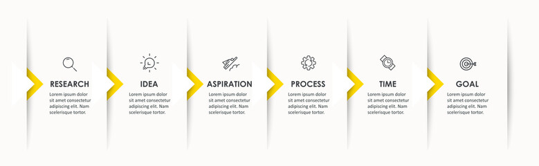 Vector Infographic design with icons and 6 options or steps. Infographics for business concept. Can be used for presentations banner, workflow layout, process diagram, flow chart, info graph