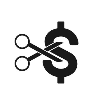 Price or cost reducing icon concept. Scissor cutting money. Vector illustration
