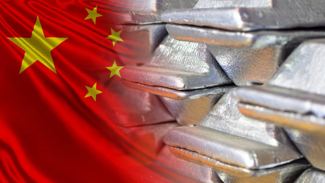Aluminum and the Chinese flag. Aluminum supplies to China. Export of Chinese aluminum. World market of non-ferrous metals. Raw materials for the metallurgical industry.