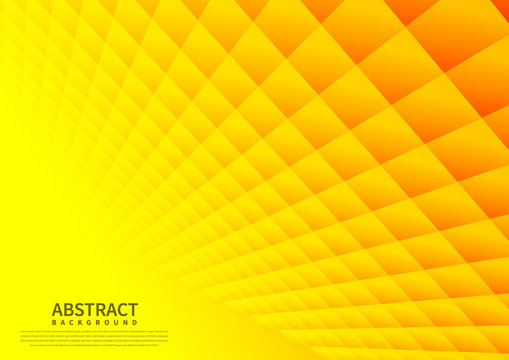 Abstract geometric square pattern background with yellow shapes perspective. Vector illustration