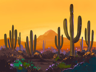 Color sketch of the desert of America with cacti. Arizona desert. Prairie landscape. Hand drawn illustration Wall mural