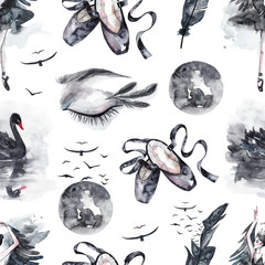 Seamless pattern with watercolor eyes and swans, feathers and birds, pointe shoes and Moon. Watercolor mystical gothic background