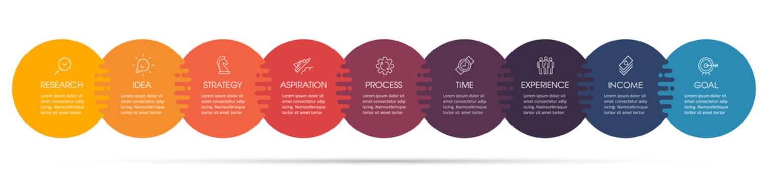 Vector Infographic design with icons and 9 options or steps. Infographics for business concept. Can be used for presentations banner, workflow layout, process diagram, flow chart, info graph