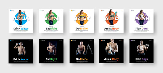 Wall Mural - Set of vector square flyers on a white and black background, on the theme of health,nutrition and sports.
