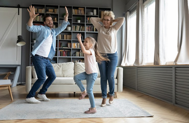 Wall Murals Dance School Overjoyed three family generations dancing at home