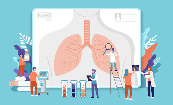 Research scientist. Science laboratory, chemistry scientists and clinical lab. Medical research items, clinical science laboratories experiments. Lungs, internal organ inspection, concept vector