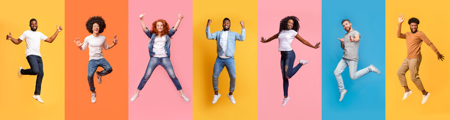 Collage of cheerful jumping multinational people in air on color background, panorama