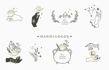 Beauty occult logo collection with hand,geometric,crystal,moon,eye,star.Vector illustration for icon,logo,sticker,printable and tattoo Wall mural